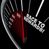 Race to Rewards Speedometer Customer Loyalty Points Program. A red needle racing on a speedometer to the words Race to Rewards to illustrate the accumulation of Stock Photo