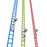Race to the top. Race on corporate ladder to win a better role or position, 3d men climbing ladders on white background Royalty Free Stock Images
