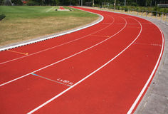Race track. Red race track used for athletics Royalty Free Stock Photography