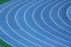Race track. Close up of a blue race track used for athletics Royalty Free Stock Image