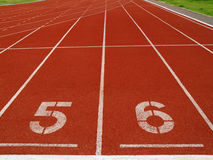 Race track. Red race track with numbers stock photos