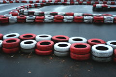 Race track. A race track with red and with rubbers on it Royalty Free Stock Image