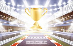 Race Track Arena with Spotlights, Finish Line and Golden Cup. Vector Illustration Royalty Free Stock Images