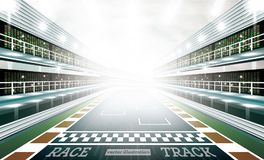 Race Track Arena with Spotlights and Finish Line. Vector Illustration vector illustration