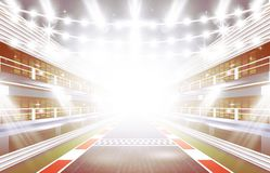 Race Track Arena with Spotlights and Finish Line. Vector Illustration Stock Photography
