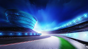 Race track bended road with stands and spotlights Stock Images