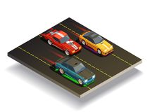 Race Track Cars Composition royalty free illustration