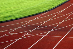 Race track curve. The curve in the stadion Stock Photos