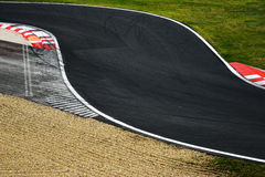 Race track curve road for car racing. Close up stock image