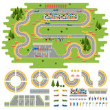 Race track curve road. Vector, car sport track. Top view of car sport track. Sport car track constructor, road symbols Stock Photos