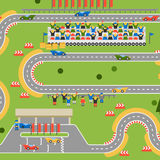 Race track curve road. Vector. Top view of car sport competition constructor symbols. Circuit transportation tire speedway line. Automobile highway flare Royalty Free Stock Photos
