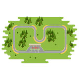 Race track curve road. Vector. Top view of car sport competition constructor symbols. Circuit transportation tire speedway line. Automobile highway flare Stock Photo