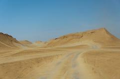 Race track in the desert. Speedway Paris-Dakar desert of Tunisia Stock Photo
