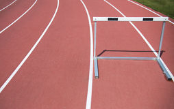 Race track and hurdle in athletic lines Stock Photography