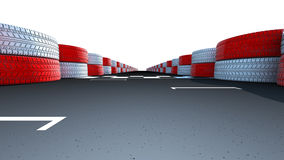 Race Track Start and Finish Line. Motor racing track at a sports venue showing dividing finish line on the asphalt road, Clipping path included Royalty Free Stock Image