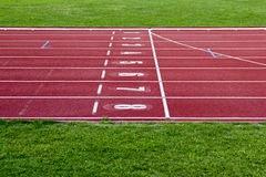 Race track start line. With lane numbers Royalty Free Stock Photo