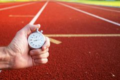 Race track stopwatch. Race tracks ready for the olympic games Stock Photos