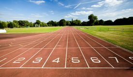 Race track. A view over an athletic race track with eight lanes Stock Photo