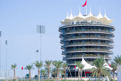 Race Track VIP Tower. VIP Tower of a Formula one race track taken at Bahrain International Circuit stock photo