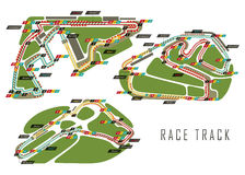 Race tracks for Brazil and Italy Arab Emirates. Set of race tracks for qualification and formula 1 world championship at Abu Dhabi at United Arab Emirates, UAE vector illustration