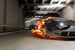 Race in tunnel. My own car design. Not associated with any brand Stock Photo