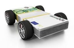 Race tyres connected to 100 Euro bills. 3D illustration Royalty Free Stock Photography