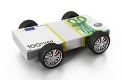Race tyres connected to 100 Euro bills. 3D illustration Stock Images