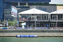 Race Village and spectator gallery at Extreme Sailing Series Singapore 2013 Stock Photography