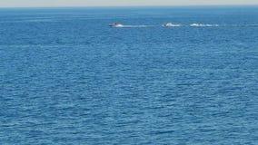 Race on the water. Caspian Sea. Kazakhstan stock footage