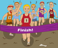 Race winner. Funny vector illustration of a group of marathon runners, finally coming to the finish Royalty Free Stock Photos