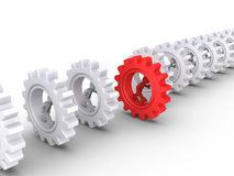 Race between the workforce. Many 3d businessmen running inside cogwheels but one is different Stock Images