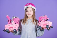 Race workout of teen girl. Little girl. Fitness health and energy. Roller skating. Freestyle. Sport race success. Happy. Child with roller skates. Beauty with stock photo