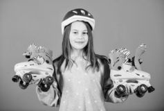 Race workout of teen girl. Little girl. Fitness health and energy. Roller skating. Freestyle. Sport race success. Happy. Child with roller skates. Beauty with royalty free stock image