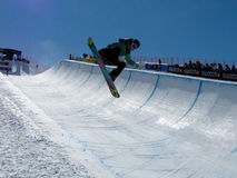 Race World Cup snowboard Half Pipe stock photo