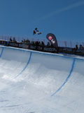 Race World Cup snowboard Half Pipe. In Valmalenco Italy Stock Image