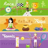 Race, yoga and tennis concept Stock Image