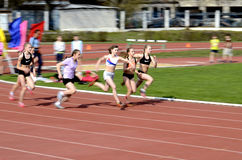 The race of young sportswomen during the competition Royalty Free Stock Image
