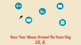 Race your mouse around the icons day poster (28. 8., annual celebration) stock video footage