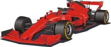 Raceauto in de vector Formule 1 Rode auto op witte achtergrond stock illustratie