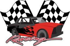 Raceauto met geruite vlaggen Stock Foto
