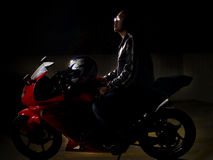 Raceauto op een motorfiets Stock Foto