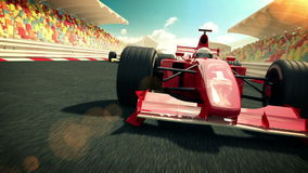 Raceauto op het rasspoor