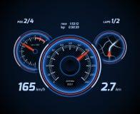 Raceautocomputer en app het dashboard vectorinterface van het smartphonespel Royalty-vrije Stock Fotografie