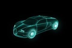 Raceautohologram Wireframe Het 3D Teruggeven van Nice Stock Afbeelding