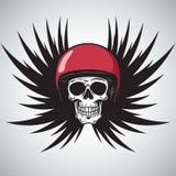Raceautoschedel in Rode Helm Zwarte Vleugels Ontwerpelement voor Embleem, Affiche, T-shirt Vector illustratie Stock Afbeelding