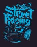 Raceautotypografie, t-shirtgrafiek, het van letters voorzien Royalty-vrije Stock Fotografie