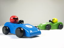 Racecars. Boys wooden toy racecars, blue and green Stock Photo