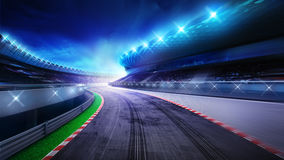 Racecourse bended road with stands and spotlights. Racing sport digital background illustration Stock Photography