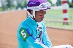 Racecourse - Keeneland Jockey Stock Image