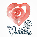 Raced watercolor St. valentine's cards Royalty Free Stock Images